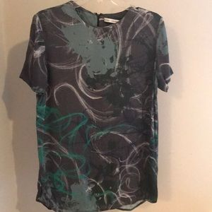& Other Stories Silk Abstract Print Top